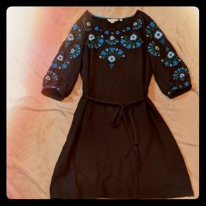 Boden Navy 3/4 Sleeve Dress with Flower Embroidery